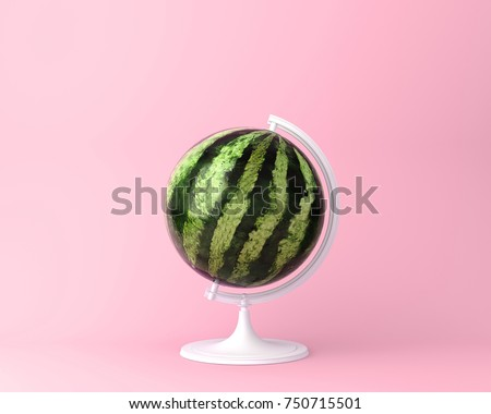 Globe sphere orb watermelon concept on pastel pink background. minimal idea food and fruit concept. An idea creative to produce work within an advertising marketing communications or artwork design. Royalty-Free Stock Photo #750715501