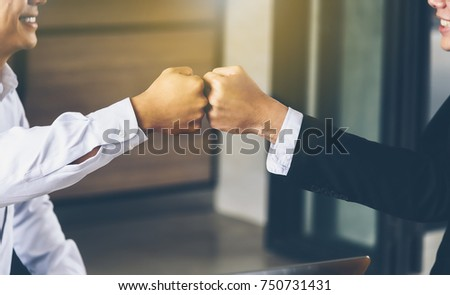 Engineer and businessman handshake,fist collide agreement in negotiations in Business conference finish. #750731431