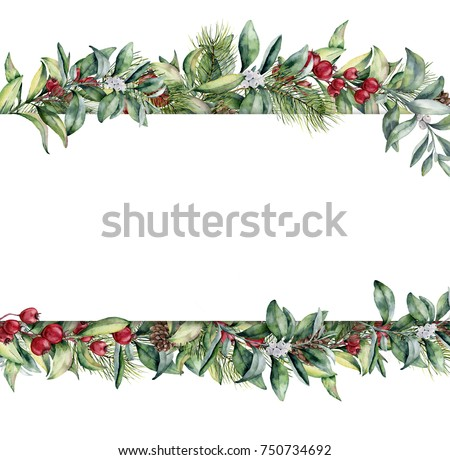 Watercolor Christmas floral banner. Hand painted floral garland with berries and fir branch, pine cone, bells and ribbon isolated on white background. Holiday clip art