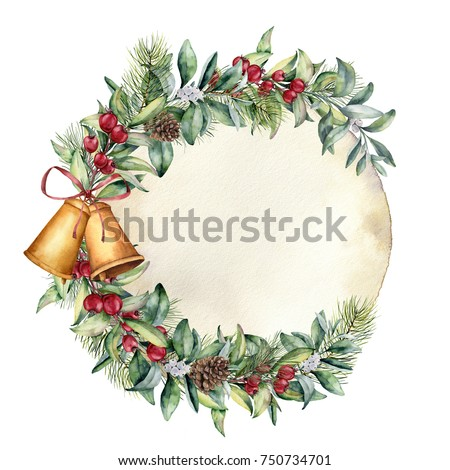 Watercolor Christmas label with old paper. Hand painted floral branch with berries and fir branch, pine cone, bells and ribbon isolated on white background. Holiday clip art