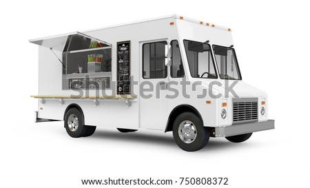Food Truck 3D Rendering Isolated on White