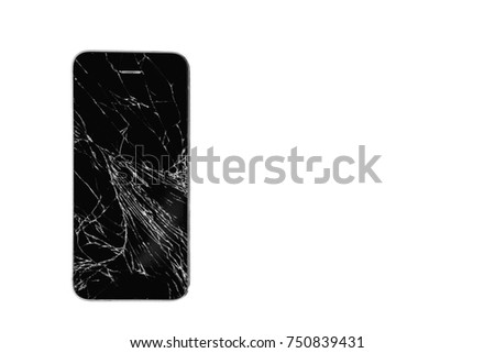 Broken Screen Glass of Mobile Smartphone on White Background