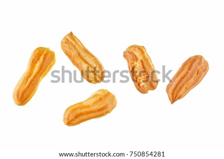 Cake eclair isolated on white background #750854281