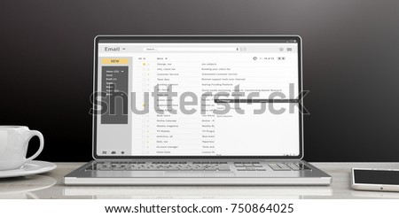 Emails list on a laptop screen isolated on an office desk, black wall background. 3d illustration #750864025