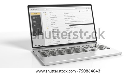 Emails list on a laptop screen isolated on white background. 3d illustration #750864043
