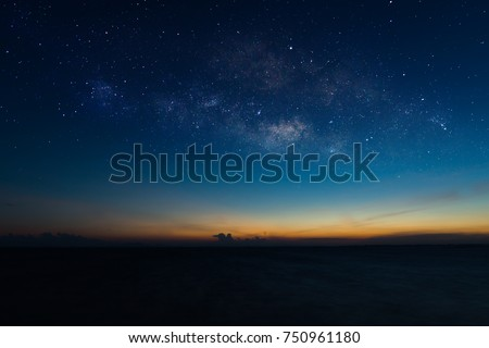 The sky with star at the lake in the twilight after sunset.