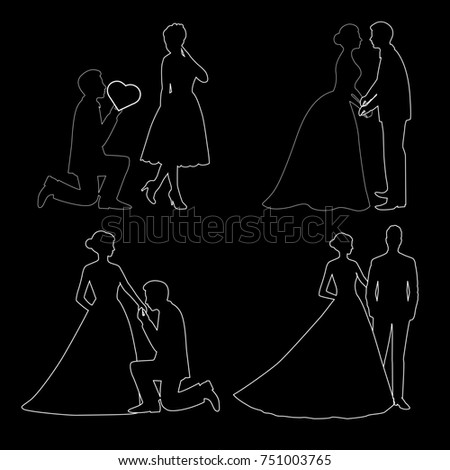The bride and groom. Set. The black contour of a bride and groom isolated on black background. illustration. #751003765