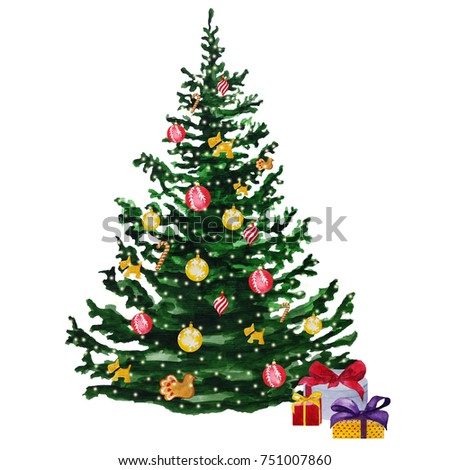 Watercolor Christmas tree isolated on white background. New year spruce hand drawn