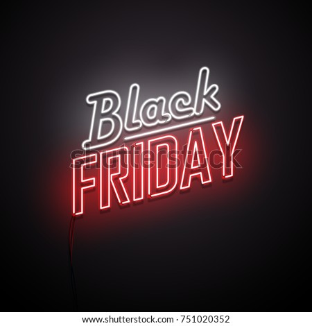 Black Friday background. Neon sign. Vector illustration. Royalty-Free Stock Photo #751020352