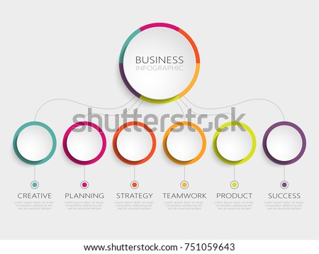 Abstract 3D Infographic Template with 6 steps for success. Business circle template with options for brochure, diagram, workflow, timeline, web design. Vector EPS 10