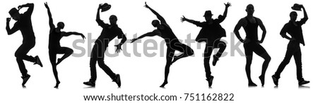 Silhouettes of dancers in dancing concept #751162822