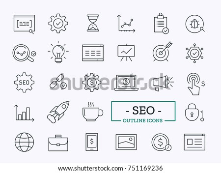 Search Engine Optimization Vector Outline Icons. SEO Elements. Royalty-Free Stock Photo #751169236