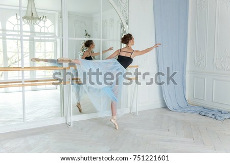 Young classical Ballet dancer side view. Beautiful graceful ballerine practice ballet positions in tutu skirt near large mirror in white light hall. Ballet class training #751221601