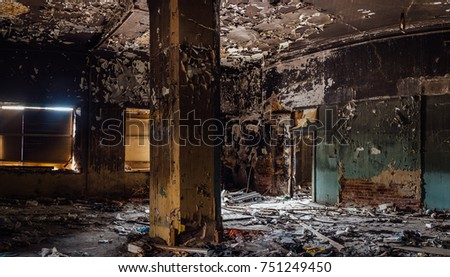 Burned interior of the old historical mansion in Astrakhan. #751249450