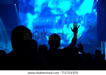 Christian worship god  with raised hand, Music concert, Praise and worship concept, spirituality and religion #751316509