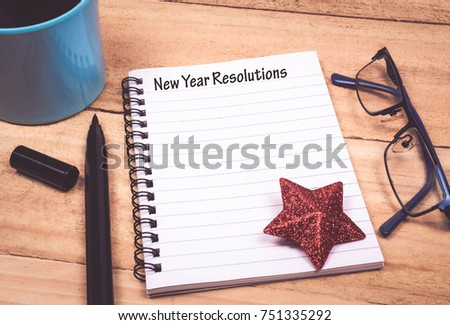New Year Resolutions List in Notepad