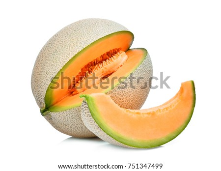 whole and slice of japanese melons, orange melon or cantaloupe melon with seeds isolated on white background #751347499