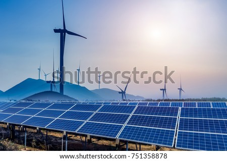 Solar and wind power, clean energy #751358878