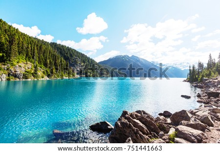 Hike to turquoise waters of picturesque Garibaldi Lake near Whistler, BC, Canada. Very popular hike destination in British Columbia. #751441663