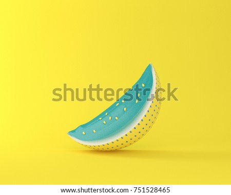 Colorful watermelon on yellow pastel background. minimal idea food concept. picture creative to produce work within an advertising marketing communications or artwork design. #751528465