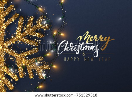 Christmas background with Shining gold Snowflakes. Lettering Merry Christmas card vector Illustration. Royalty-Free Stock Photo #751529518