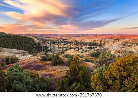 Sunrise over Theodore Roosevelt National Park, North Dakota #751767370