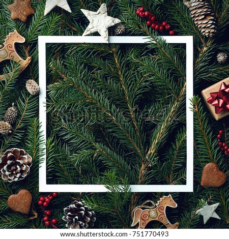 Creative frame of Christmas tree branches and decorations with space for text. Top view. Xmas and New year concept #751770493
