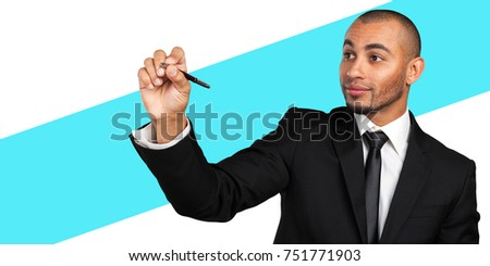 Businessman pretending to write on invisible screen #751771903