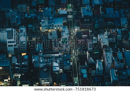 Tokyo streets at night as seen from above aerial photography