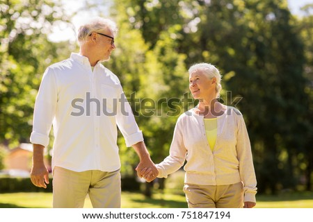 old age, relationship and people concept - happy senior couple walking at summer park #751847194