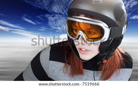 Portrait of a cute girl with red hair snowboarding on a winter background. Studio shot, composite. #7519666