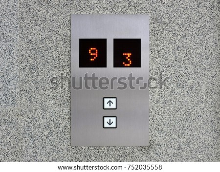 Elevator display with digital screen with Up and Down Buttons