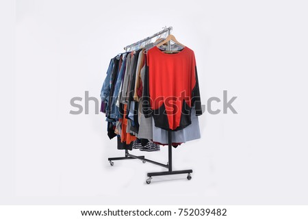 female colorful clothes and coat sundress ,shirts on Hangers-white background  #752039482