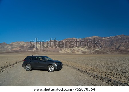 Death Valley, California - November 2, 2017: View of a grey 2017 Nissan Rogue in the desert. #752098564