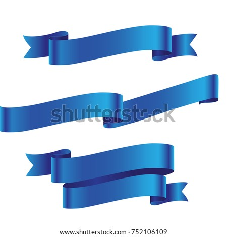 Blue ribbon isolated on white background Royalty-Free Stock Photo #752106109