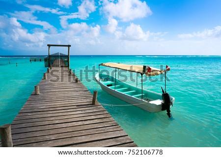 Caribbean beach pier in Costa Maya of Mayan Mexico #752106778