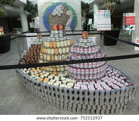 UNIONDALE, NEW YORK - NOVEMBER 9, 2017: Food sculpture presented at 11th Annual Long Island Canstruction competition in Uniondale. Teams build large scale sculptures out of canned food for food drive #752112937