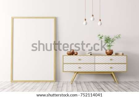 Interior of living room with wooden sideboard and blank mock up poster frame 3d rendering #752114041