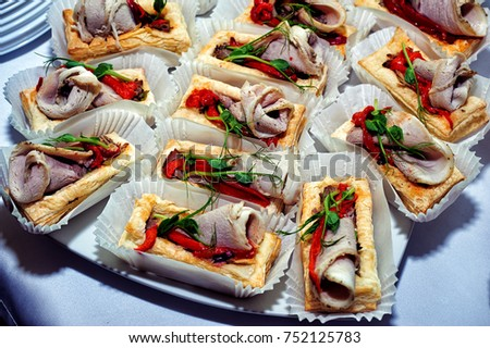 Canape with meat and red pepper #752125783