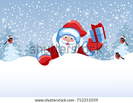Santa Claus holds poster in the form of a snowdrift for advertise discounts, sales or an invitation to celebrate Christmas. Design of the New Year presentation. #752251039