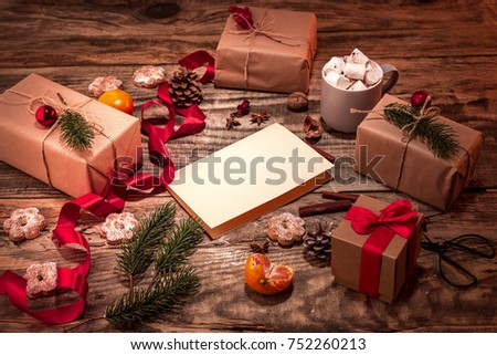 The winter composition. The gifts and cup with marshmallow #752260213