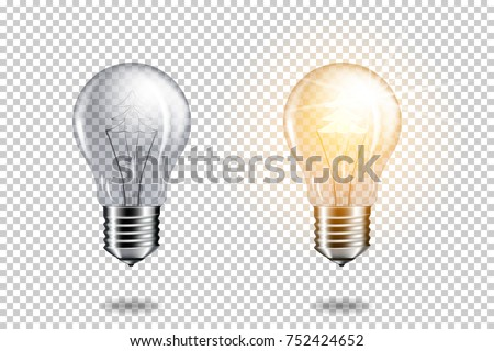 Transparent realistic light bulb with christmas tree, isolated. Royalty-Free Stock Photo #752424652