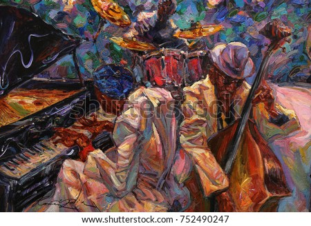 """jazz singer, jazz club, jazz band,oil painting, artist Roman Nogin, series """"Sounds of Jazz.""""looking for partnerships with artdillers - contact facebook Royalty-Free Stock Photo #752490247"""