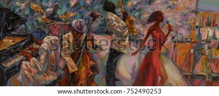"""jazz singer, jazz club, jazz band,oil painting, artist Roman Nogin, series """"Sounds of Jazz.""""looking for partnerships with artdillers - contact facebook Royalty-Free Stock Photo #752490253"""
