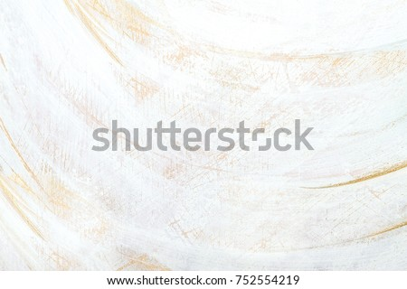 White And Gold Antique, Rustic Acrylic Colors, Brush Painted And Carved Texture, Background Texture, Space For Copy