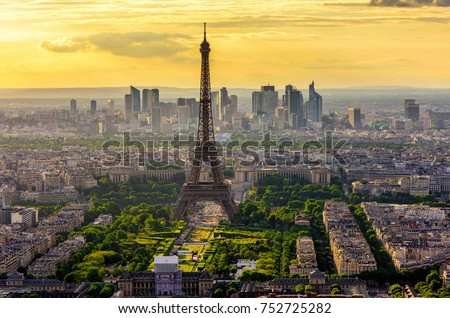 Skyline of Paris with Eiffel Tower at sunset in Paris, France. Eiffel Tower is one of the most iconic landmarks of Paris. Postcard of Paris