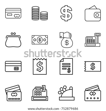 thin line icon set : card, coin stack, dollar, wallet, purse, money, gift, cashbox, credit, receipt, account balance #752879686