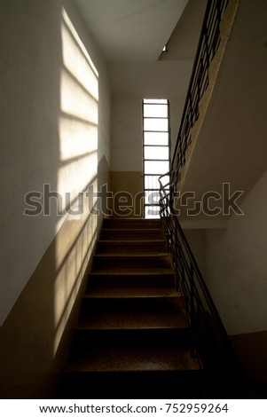 stairs with windows and sunlight  #752959264
