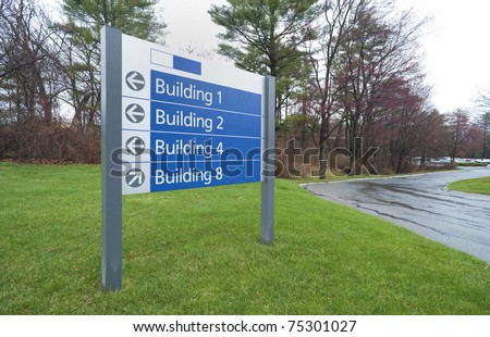Sign to office buildings complex in industrial park