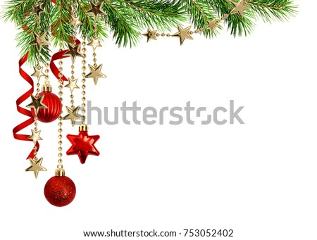 Christmas arrangement with green pine twigs, hanging red decorations and silk twisted ribbons isolated on white background Royalty-Free Stock Photo #753052402